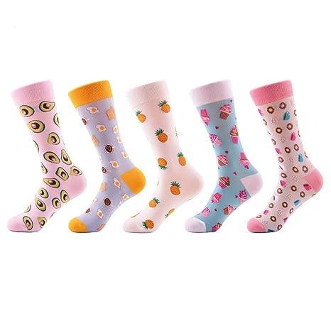FHCGWZ 5pcs / Set Novedad Moda Peinado algodón Mujeres Calcetines patrón de Helado de piña Calcetines