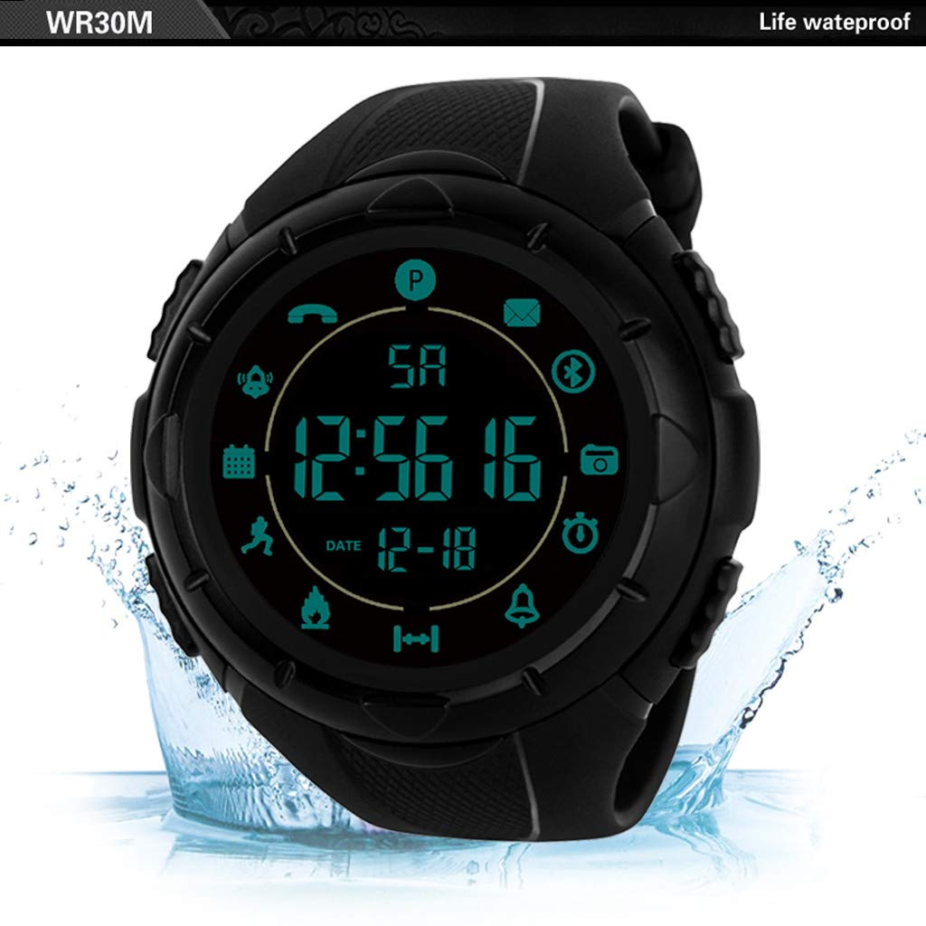Mens Watches,Fxbar Military Use Men Sport Analog Dive Watch Outdoor Smartwatch 24h All-Weather Monitoring Men Watch(A)