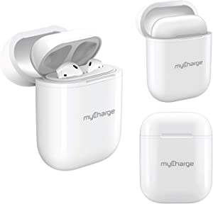 myCharge Airpods Wireless Charging Case - Protective Hard Cover Skin Charger Case Enables Air Pod Earbuds to Charge from Qi Wireless Charger Disc (AirPods Not Included)
