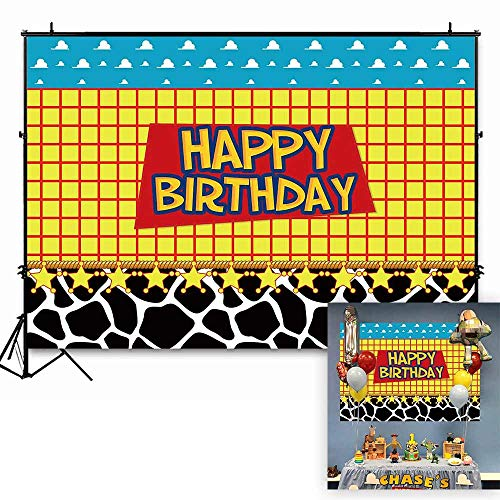 (Funnytree 7x5ft Happy Birthday Party Backdrop Kids Cartoon Themed Baby Boy Photography Background Western Cowboy Cowgirl Sky Clouds Cow Print Photo Booth Decorations Cake Table Banner)