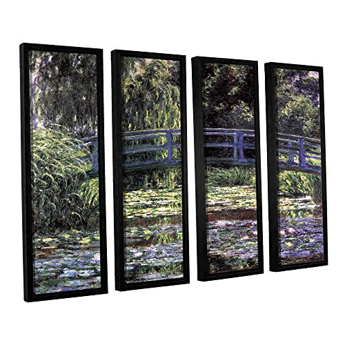 ArtWall Claude Monet's The Japanese Footbridge Giverny 4 Piece Floater Framed Canvas Set, 24 by 32