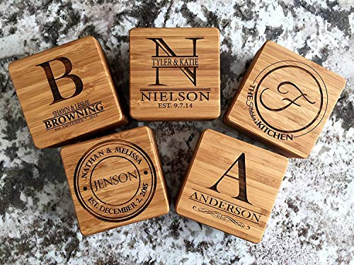 Personalized Wedding Gifts and Bridal Shower Gifts - Monogram Wood Coasters for Drinks (Set of 4, Nielson Design) by Qualtry (Image #3)