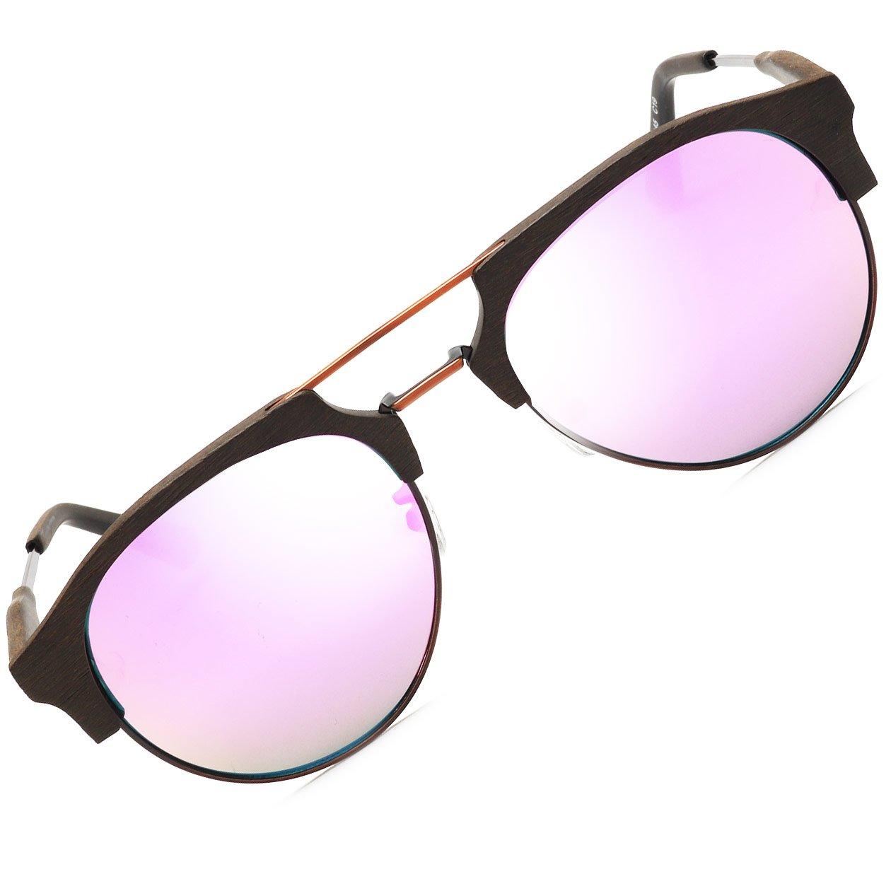 BAVIRON メンズアセテートサングラスレトロラウンド類似の木製メガネ偏光UV400 B07855L3SR C19ブラウン/パープル C19ブラウン/パープル