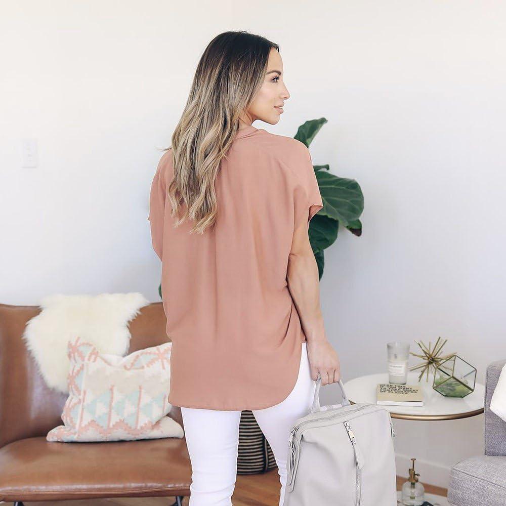 Siriay Women Shirts Ladies Summer Chiffon Short Sleeve Deep V Neck Casual Tops Blouse Tee Shirt