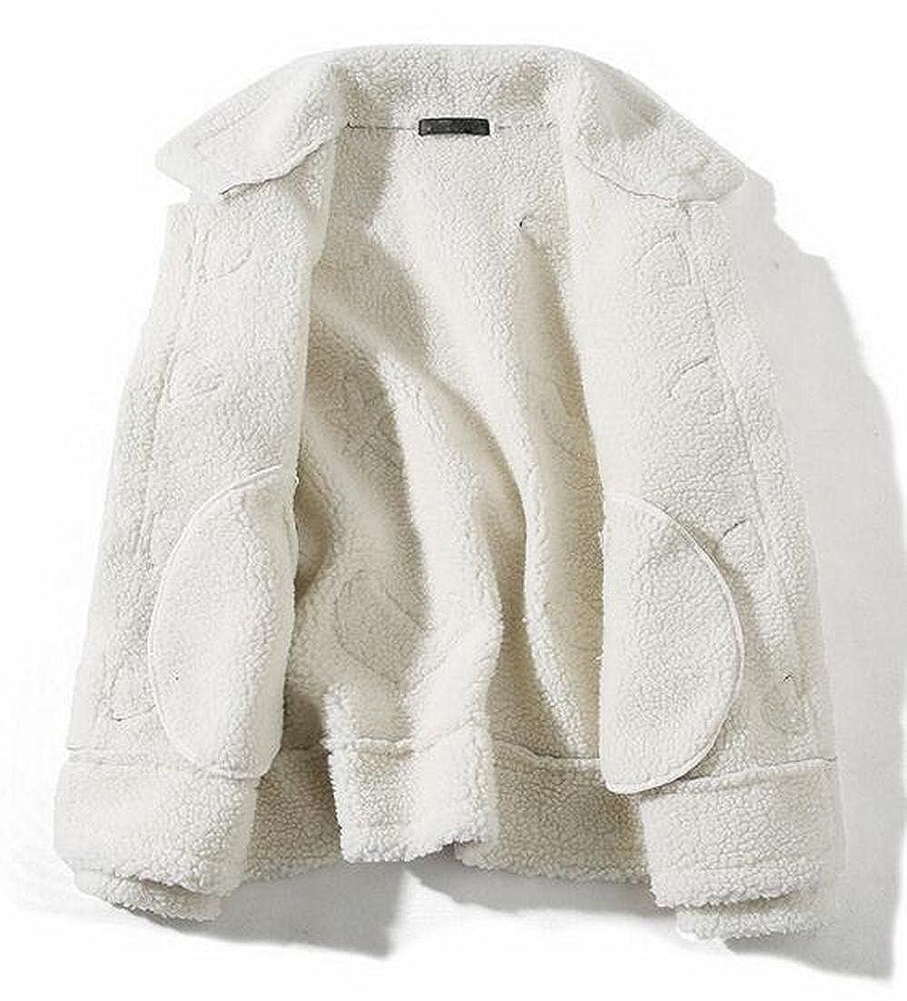 CBTLVSN Mens Stylish Long Sleeve Lamb Wool Lined Suede Thicken Biker Jacket