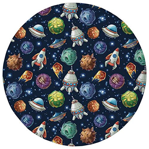 Rocket Bluetooth Science (Round Rug Mat Carpet,Space Decor,Futuristic Science Fiction Comic Planet Spaceships Androids Rockets Ufo Illustration,Multi,Flannel Microfiber Non-slip Soft Absorbent,for Kitchen Floor Bathroom)