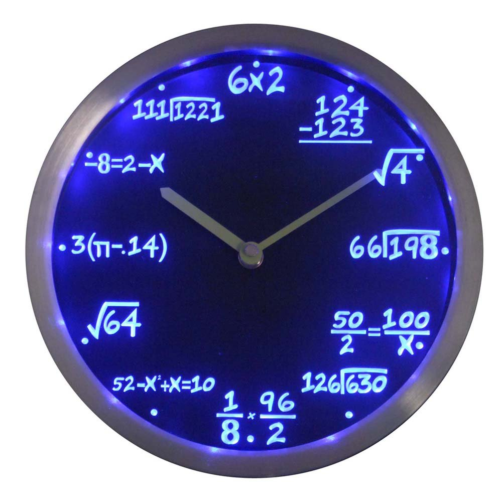 Math Class Mathematics Teacher Gifts Neon Sign LED Wall Clock 10 inch in diameter (3 colors to select)