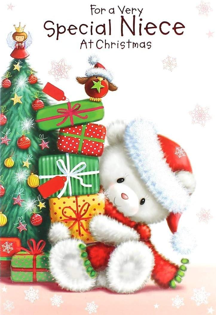 Auguri Di Natale Per Nipoti.Biglietto Di Natale Per Nipoti Con Orsetto Di Babbo Natale Con Il Suo Pettirosso Ed I Regali 19 X 13 5 Cm Amazon It Casa E Cucina