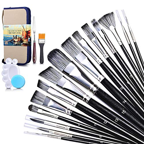 Paint Brush Set, SUEFFI 20 Pieces Acrylic Paint Brushes with Standable Carrying Case, Paint Tray, Palette Knife and…