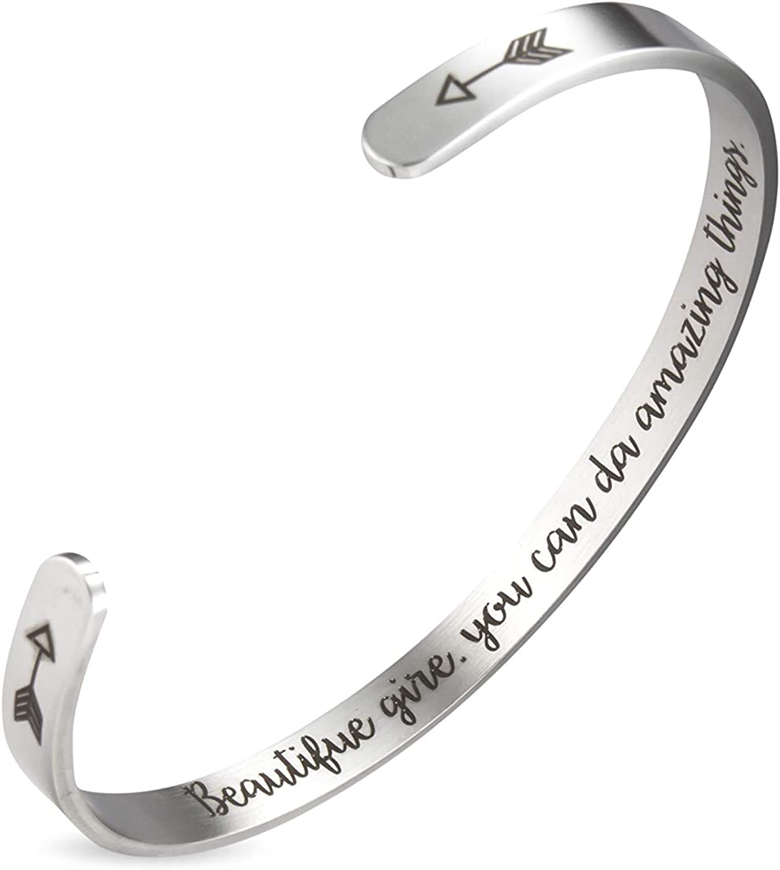 Inspirational Bracelets for Women Mantra Cuff Bangle Friend Encouragement Gift