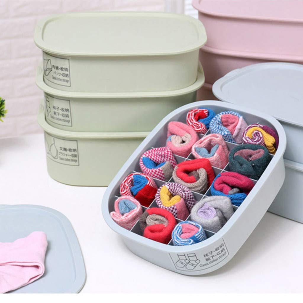 3X Storage Box 3X Cover LIUguoo Can Be Stacked Plastic Storage Box Closet Dresser Drawer Divider Organizer Basket Bins for Underwear Bras