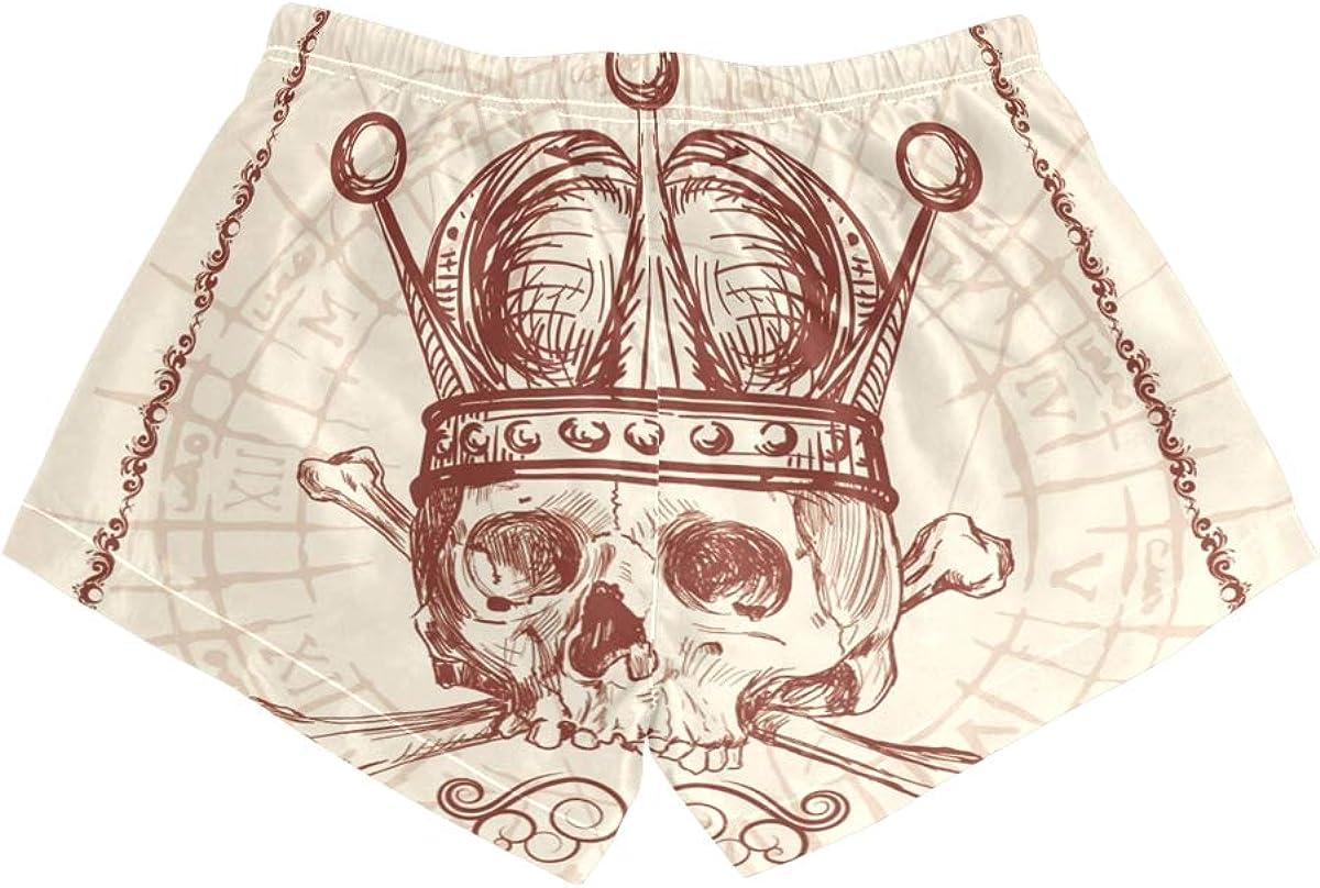 HEOEH Womens Poker Skull Crown Eye Beach Shorts Pants Ladies Boardshort Swimming Trunks