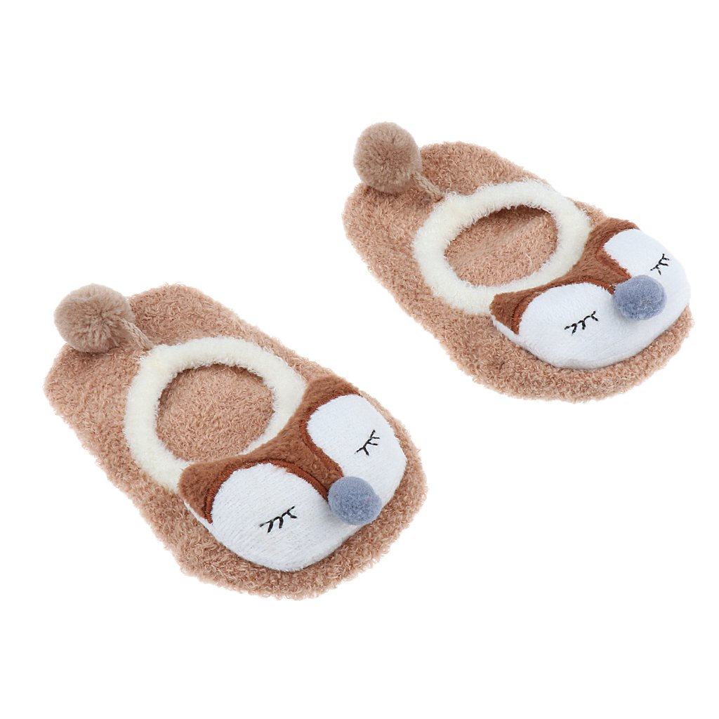 Dovewill Cute Baby Ankle Soft Socks Skid Toddler Gripper Socks for 2-4 Years Old - Brown, S