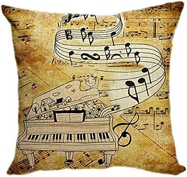 Pillow Cover Funda de cojín DE 55 x 55 cm, Funda de cojín Decorativa para sofá, Fundas de cojín, Fundas de Almohada, cojín Retro de música, Guitarra, música, Piano: Amazon.es: Hogar