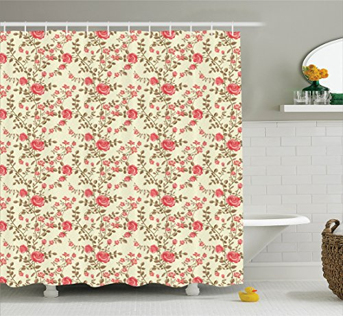 (Ambesonne Roses Decorations Collection, Rose Leaf Stems Floral Pattern Garden Ornamental Feminine Vintage Art, Polyester Fabric Bathroom Shower Curtain Set with Hooks, 75 Inches Long, Red Green Ivory)