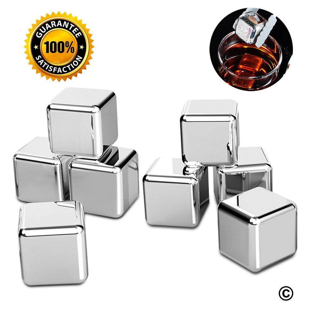BBO Set of 8 Reusable Stainless Steel Ice Cubes for Wine with Tongs and Ice Tray