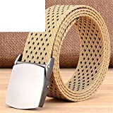 Meetloveyou Fashion Tactical Nylon Belt Casual Straps Canvas Strap Belts for Men & Women Jeans CBFJ0001 Line02 Khaki 110cm 32to33 Inch