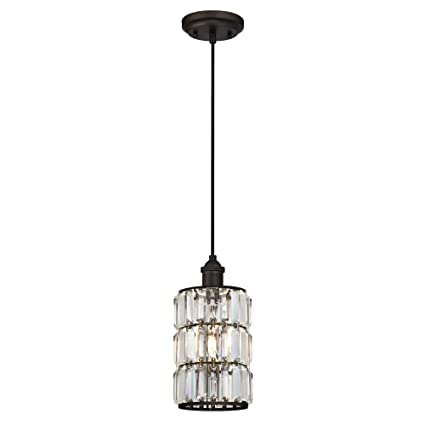buy online 205ca 634d7 Westinghouse Lighting 6338400 Sophie One-Light Indoor Mini Pendant, Oil  Rubbed Bronze Finish with Crystal Prism Glass,