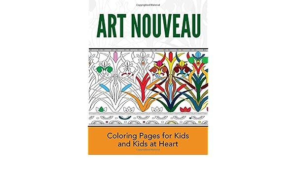 Art nouveau style peacock - Art Nouveau Adult Coloring Pages | 350x600