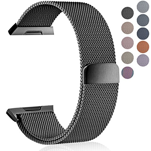 Maledan Metal Bands Compatible with Fitbit Ionic, Stainless Steel Milanese Loop Metal Replacement Accessories Bracelet Strap with Magnet Closure for Fitbit Ionic Smart Watch, Black, Large