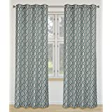 LJ Home Fashions Linked Geometric Linen Grommet Curtain Panels (Set of 2), 52x95-in, Ivory/Sea Blue/Grey