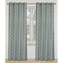 Linked Geometric Linen Blend 2-Panel Grommet Curtain Set, 52x95 inch, Teal/Grey