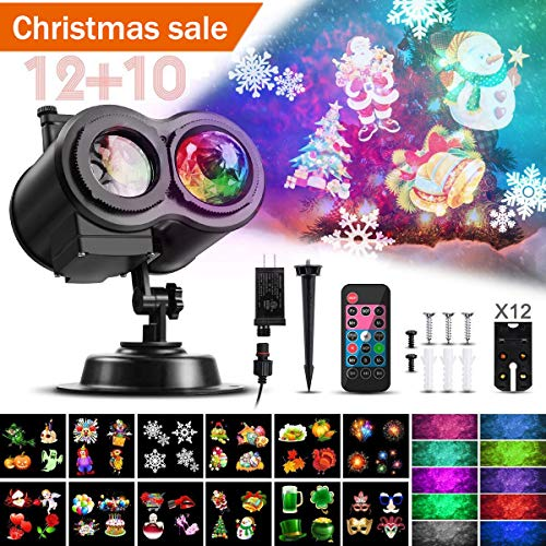 Water Wave Christmas Projector Lights, CAMTOA LED Double Projector Lamp 2-in-1 with Rotating Snowflake Snowfall &Remote Timer &12 Slides&10 Colors, Waterproof Effect Projector for Night Light Decor ()