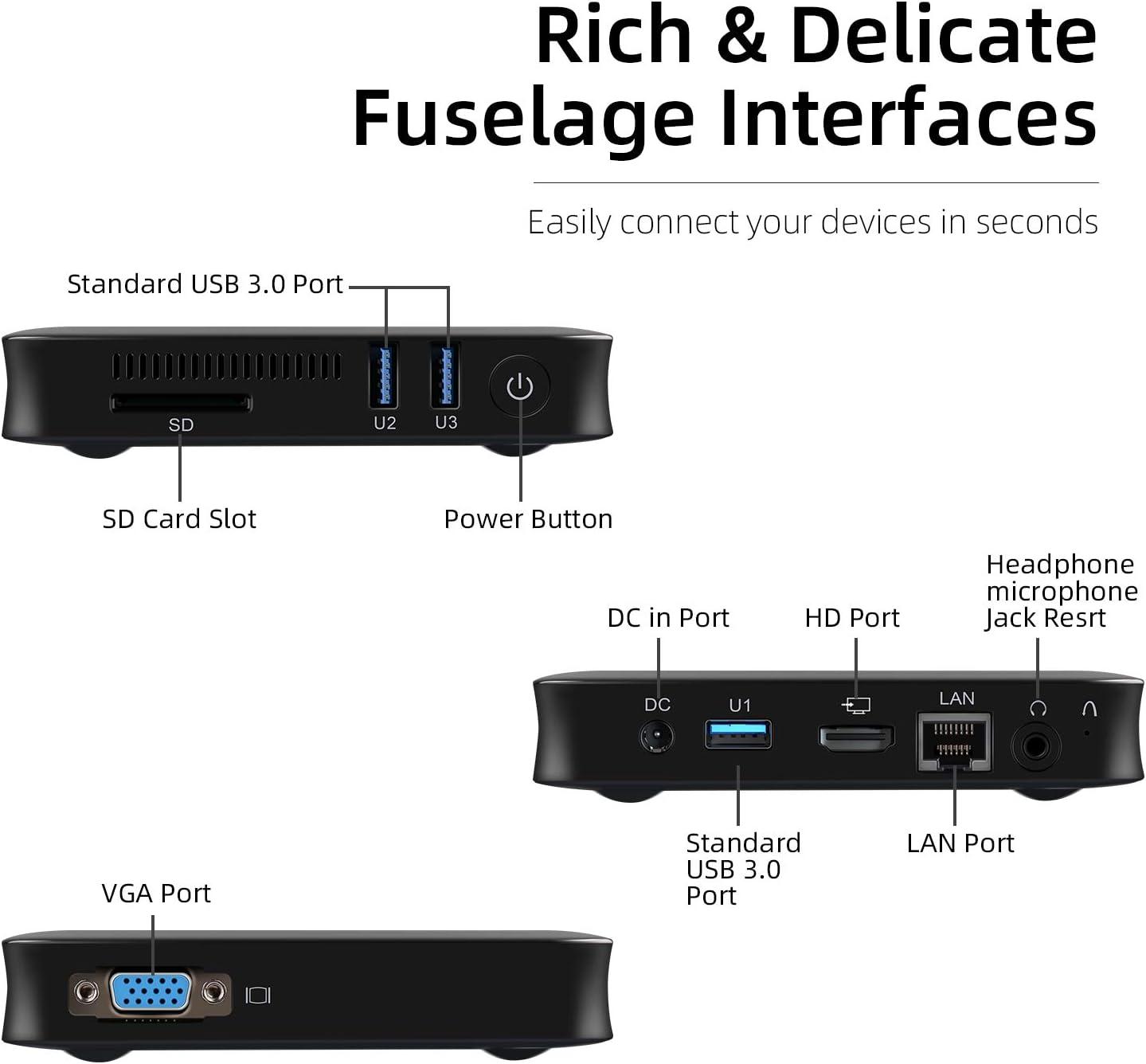 WiFi Double Bande Gigabit Ethernet Connexion HD et VGA Ordinateur de Bureau Windows 10 Micro-Ordinateur /à processeur Double c/œur Intel Celeron Jumper Mini PC 4Go DDR3 64Go eMMC USB 3.0