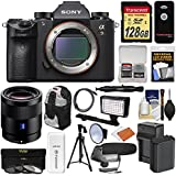 Sony Alpha A9 Wi-Fi 4K Digital Camera Body with 55mm f/1.8 ZA Lens + 128GB + Battery & Charger + Backpack + Filters + LED/Flash + Mic + Tripod + Kit