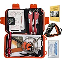 11 Items Compact Emergency Survival Kit Bundle. Multi-Purpose Outdoor Everyday Portable Survival Gear for Camping Traveling Hiking Biking Climbing Hunting Lightweight Inexpensive Ultra Compact