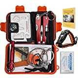 Emergency Survival Kit Bundle.11 Items. Pocket size. Essential Camping Survival Gear, Folding knife, Fire Starter, Compass, Paracord Survival Bracelet, Emergency Blanket, Whistle, Ebook, and more