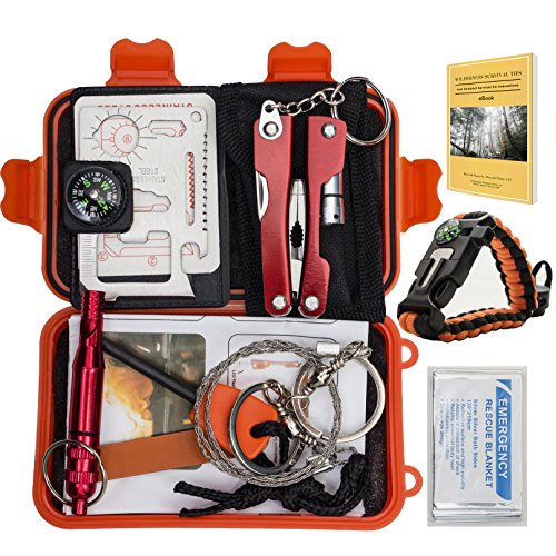 Emergency Survival Kit Bundle.11 Items. Pocket size. Essential Camping Survival Gear, Folding knife, Fire Starter, Compass, Paracord Survival Bracelet, Emergency Blanket, Whistle, Ebook, and more by Booyah Basix (Image #9)