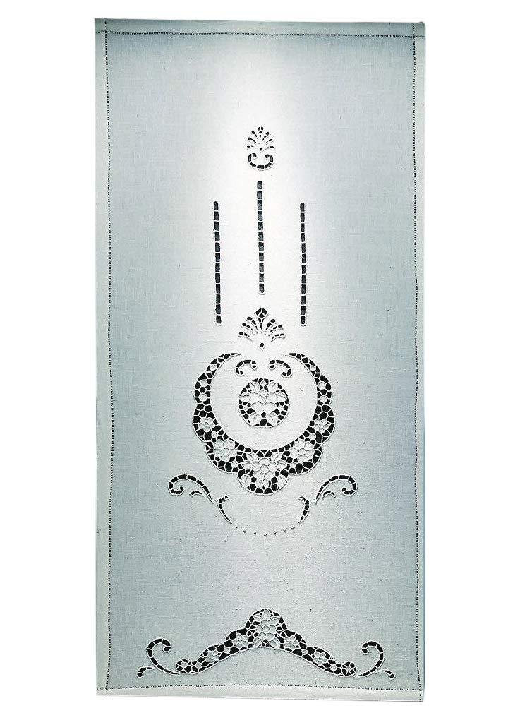 Zenoni & Colombi Coppia di Tende Ricamate a Mano Lindos Made in Italy Misto Lino Varie Dimensioni (58x130)