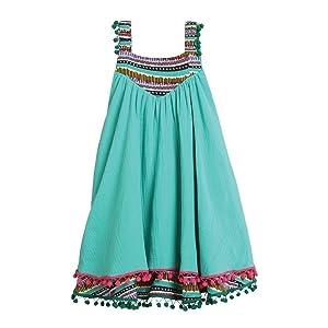 Rockin' Baby Big Girls Green Mixed Stripe Border Circle Esme Dress 8