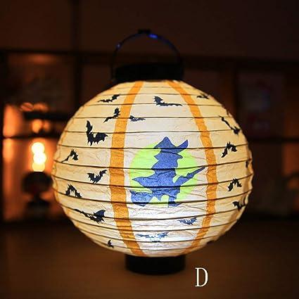 amazon com halloween led paper lantern battery operated pumpkin