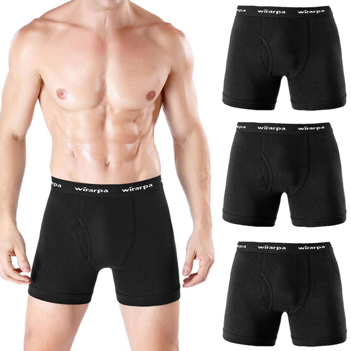 wirarpa Men's 3 Pack Comfy Cotton Stretch Underwear Boxer Brief Open Fly Black 1430