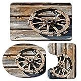3 Piece Bath Mat Rug Set,Barn-Wood-Wagon-Wheel,Bathroom Non-Slip Floor Mat,Old-Log-Wall-with-Cartwheel-Telega-Rural-Countryside-Themed-Image-Decorative,Pedestal Rug + Lid Toilet Cover + Bath Mat,Umber