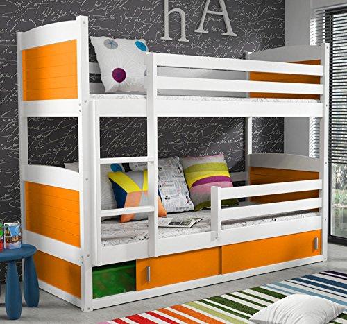Bunk Bed Rico 200x90 White Colour With Mattresses Amazon Co Uk