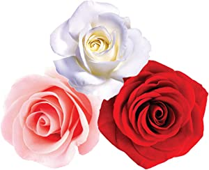 StikArt Removable Pink Roses White Roses and Red Roses Wall Decals Printed on Waterproof Canvas (15 Flowers)