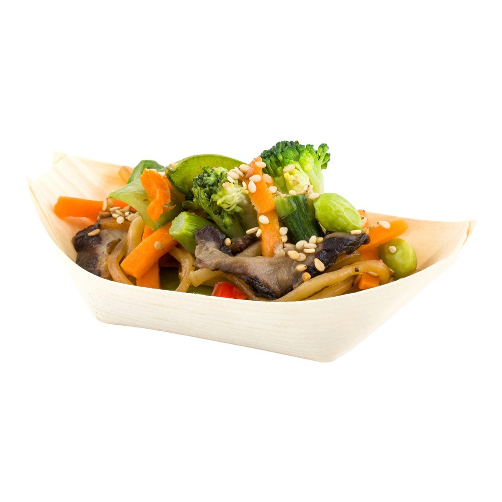 Small Disposable Wood Serving Boats – Natural Pinewood Take Out Trays: Perfect for Restaurants, Caterers and Food Trucks – 5.0'' x 2.5'' – Biodegradable and Compostable – 200-CT – Restaurantware by Restaurantware (Image #1)