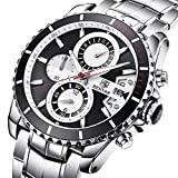 BENYAR Men's Chronograph Quartz Date Stainless Steel Black Dial Watch#BY-5127M