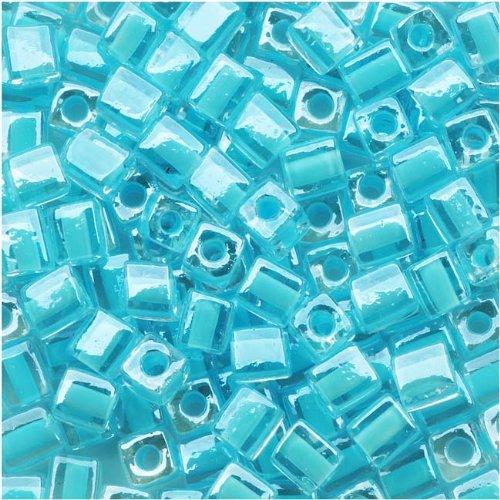 Miyuki 4mm Glass Cube Beads Ice Blue Lined Crystal #220 10 Grams