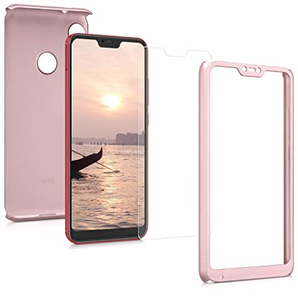 kwmobile Cover for Xiaomi Redmi 6 Pro/Mi A2 Lite - Shockproof Protective  Full Body Case with Screen Protector - Metallic Rose Gold