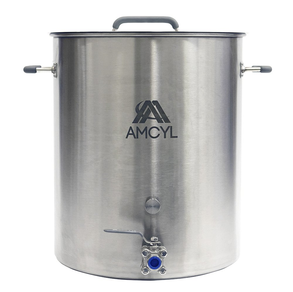 15 Gallon Brew Kettle Stainless Steel with Lid and Ball Valve by AMCYL