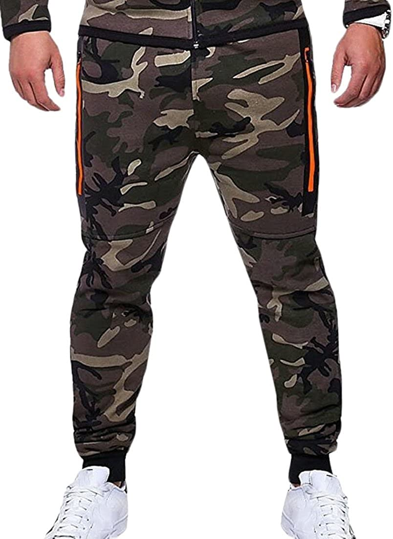 ainr Men Camo Trousers Jogger Pants Camouflage Sports Running Sweatpants