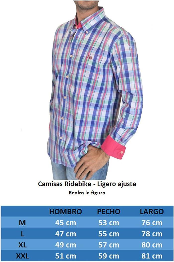 Ridebike New Model | Camisa de Cuadros Multicolor La Vespa | Diseño de Los Puños a Juego con el Cuello (20106) (L): Amazon.es: Ropa y accesorios
