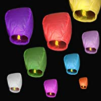 10 pcs Cielo Lanterns colores mixtos farolillos chinos voladores, Mini sky lantern globo de aire caliente, papel de…