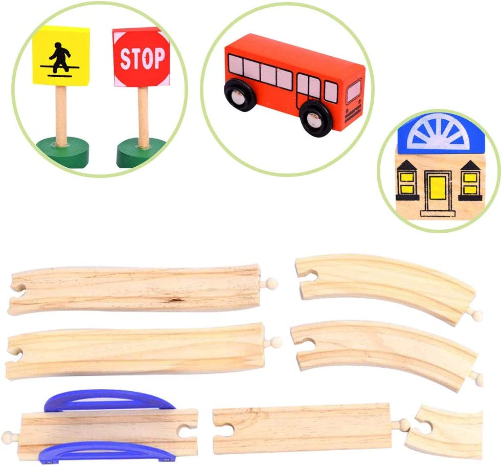 Juguete Pista Madera Juguete con Coches y Pista de Madera Bloques de Construcci/ón Juguetes Tren Pistas para Educativos Regalo Ni/ños Ni/ñas 3 4 5 6 7 8 A/ños