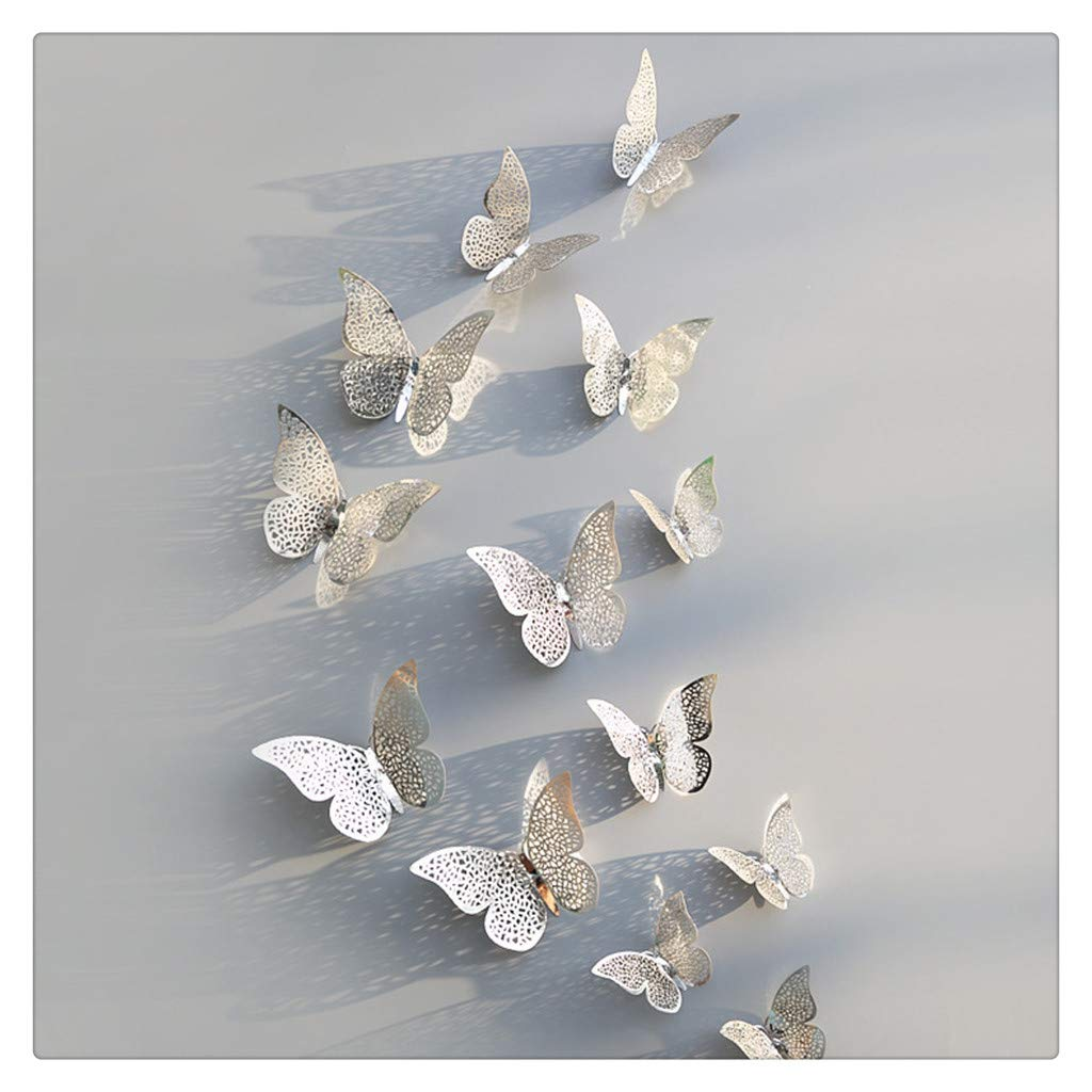 12 Pcs 3D Hollow Wall Stickers Butterfly Fridge for Home Decoration New