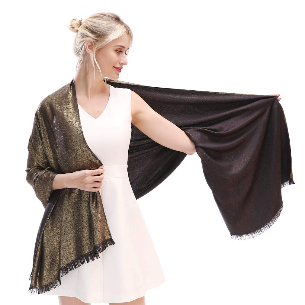 Blackgold LMVERNA Women's Sparkling Metallic Soft Pashmina Shawls And Wraps Scarf in Solid colors